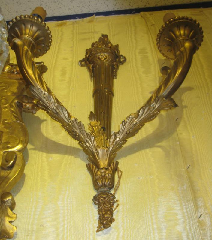 Pair Louis XVI Style Torch Form Two-Light Sconces