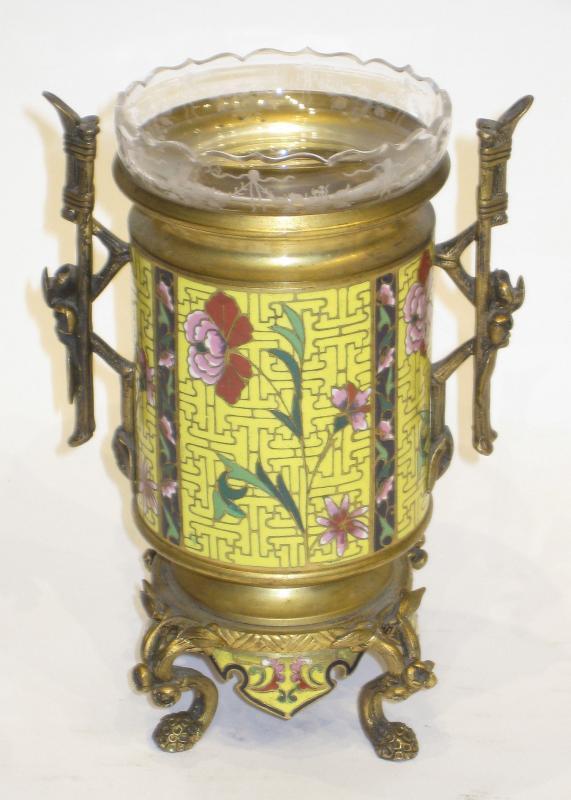 Chinese Champleve Cloisonne Bronze Flower Vase