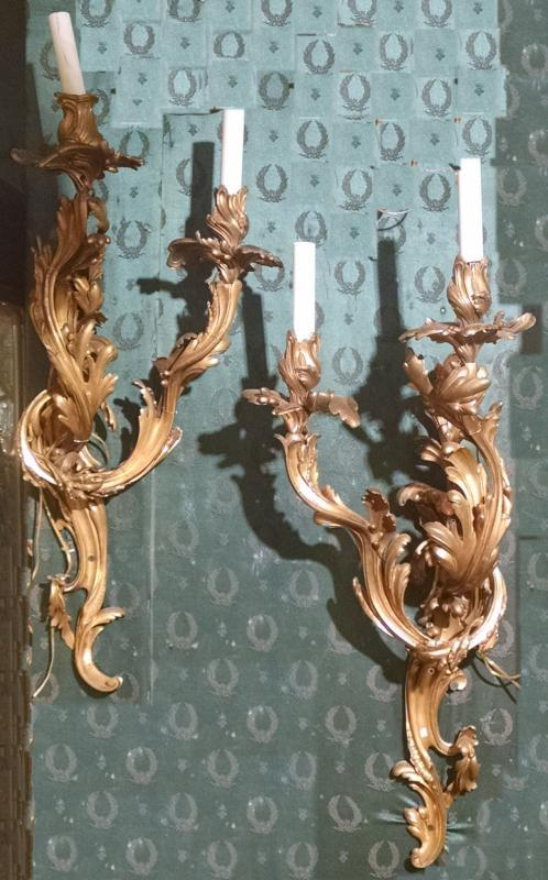 Pair Large French Louis XV Style Gilt Bronze Sconces
