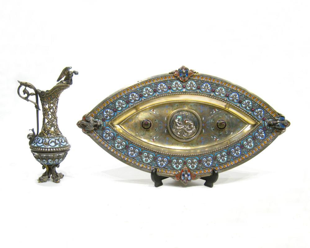 French Enamel Inlaid and Filigree Silver Tray and Ewer