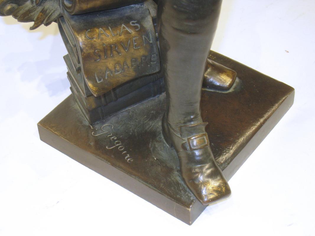 Voltaire Bronze Sculpture by Jean-Louis Gregoire (1840-1890)
