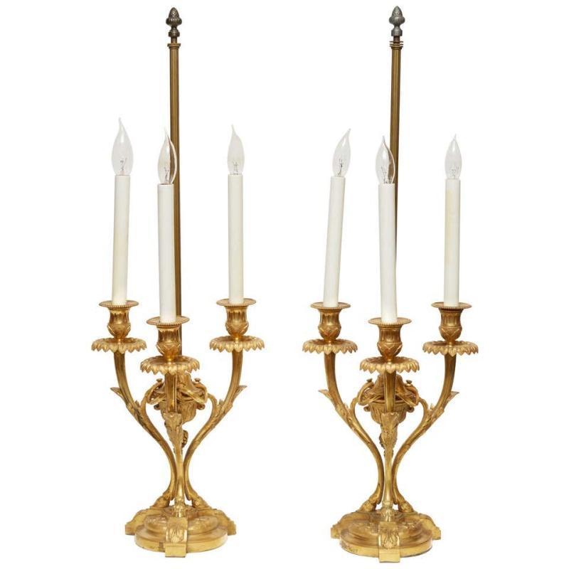 Pair Antique Gilt Bronze Candelabra Lamps