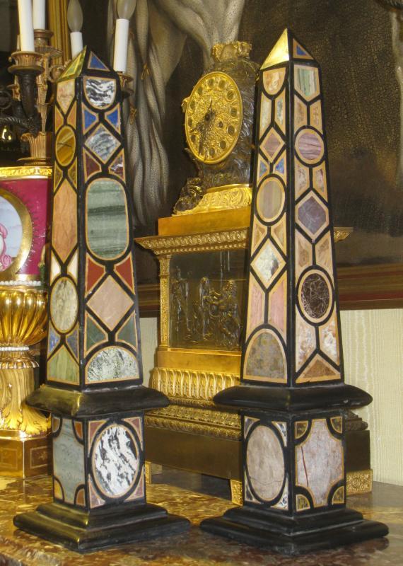Pair Antique Specimen Marble Obelisks (22.5 in, 57 cm)