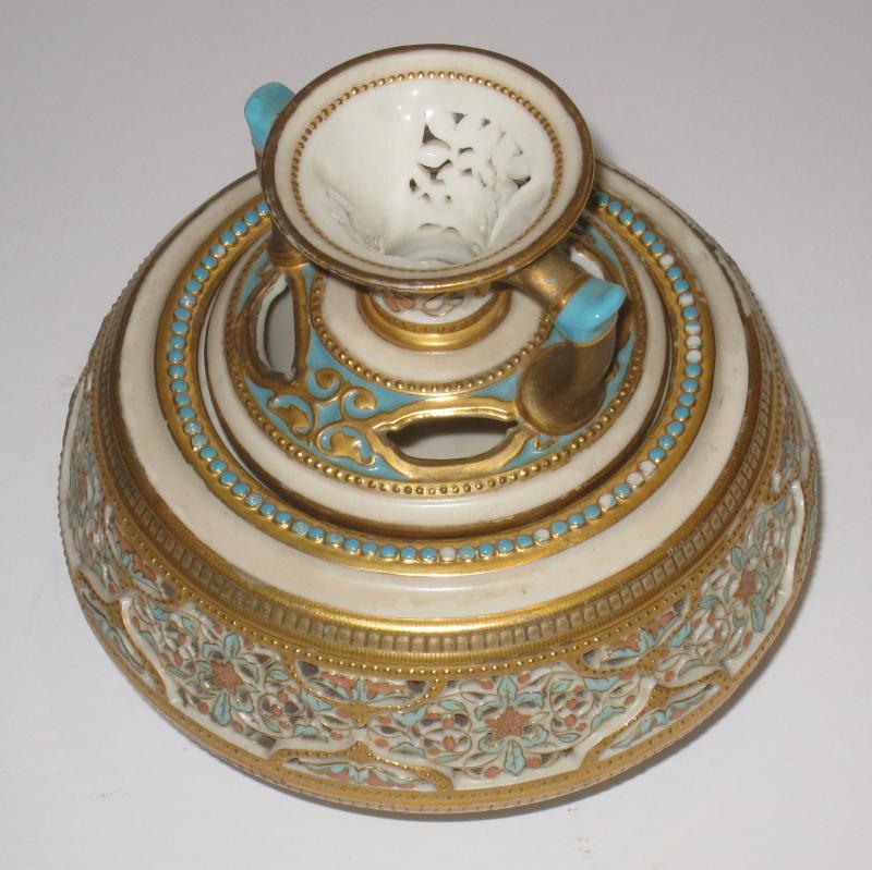 Royal Worcester Reticulated Porcelain Potpourri Jar Vase and Cover