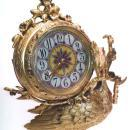 French Japonisme Peacock Form Gilt Bronze Mantel Clock