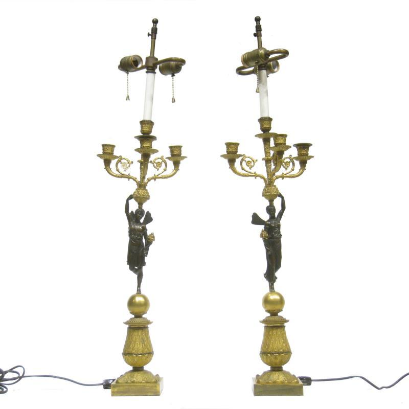 Pair Antique French Empire Candelabra Lamps