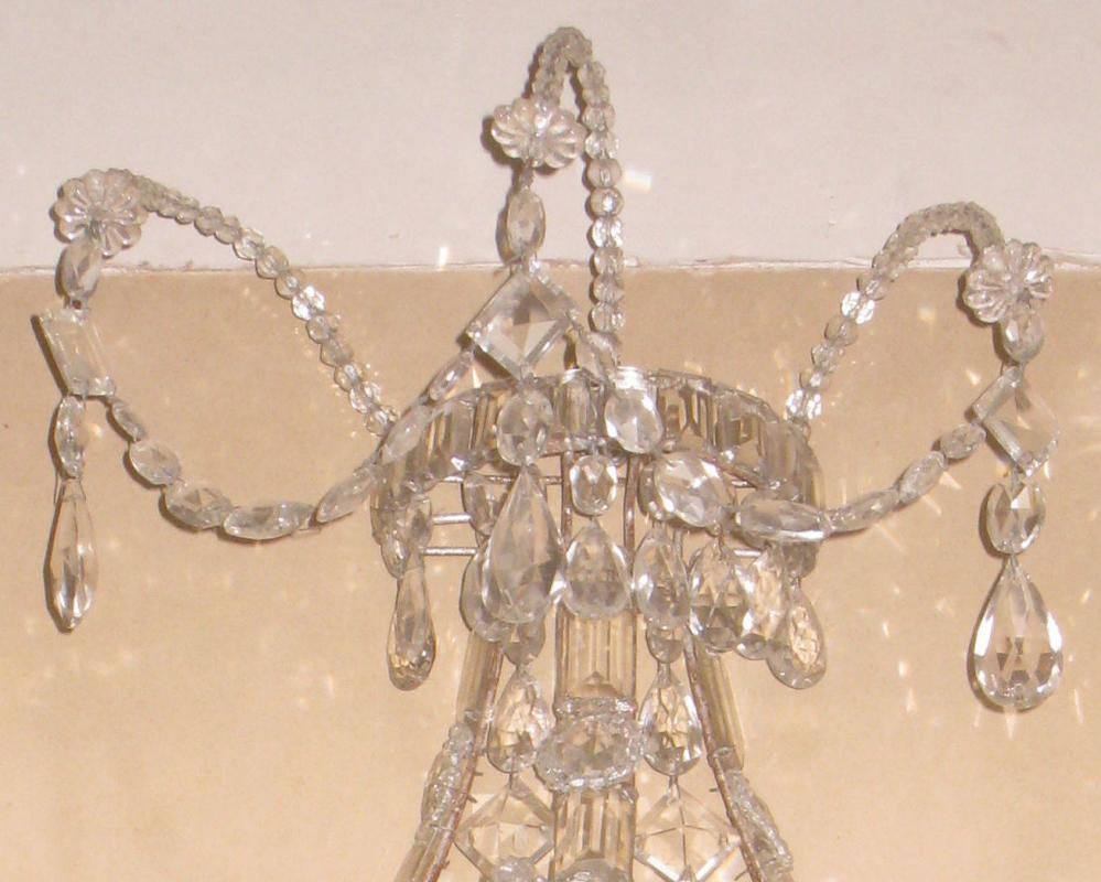 Pair Venetian Gilt Metal and Crystal Two Light Sconces
