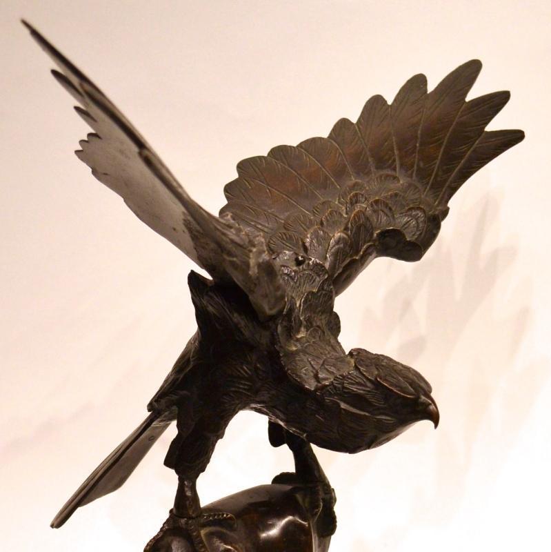Japanese Meiji Period Hawk Bronze Sculpture