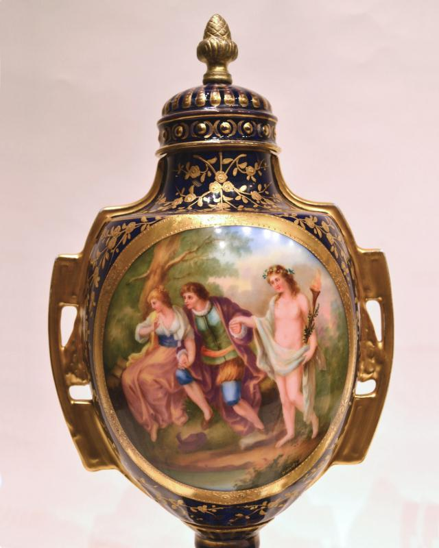 Pair Royal Vienna Porcelain Vases After Angelica Kauffmann