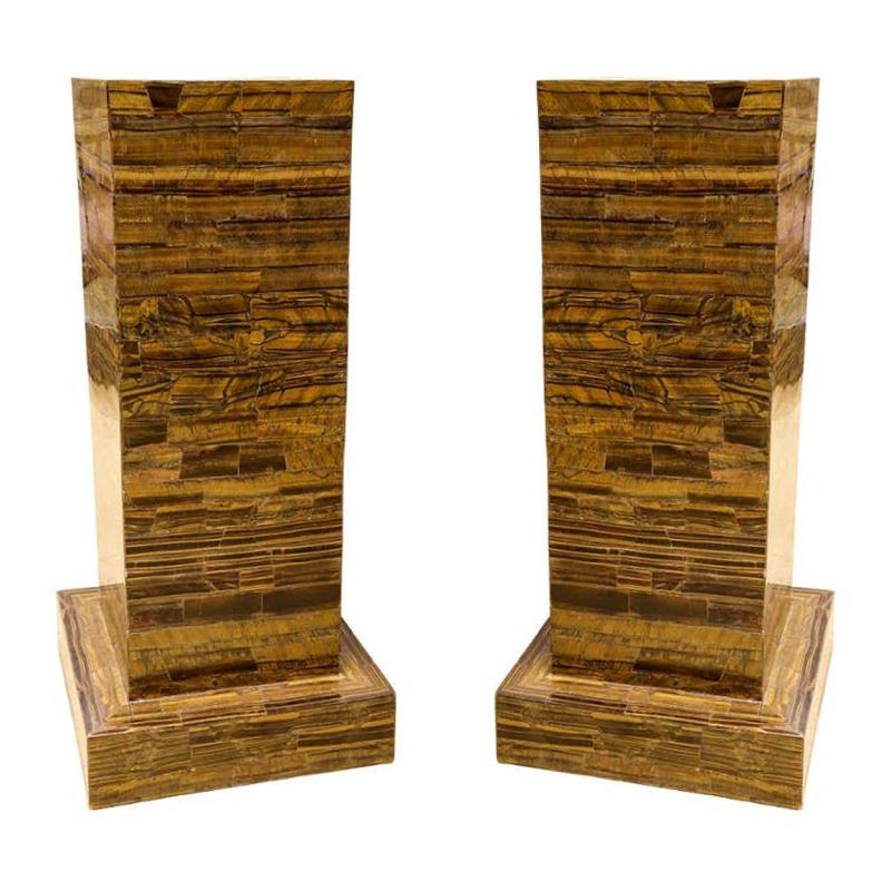 Pair Tiger Eye ( Tiger's Eye ) Walnut Veneered Pedestals