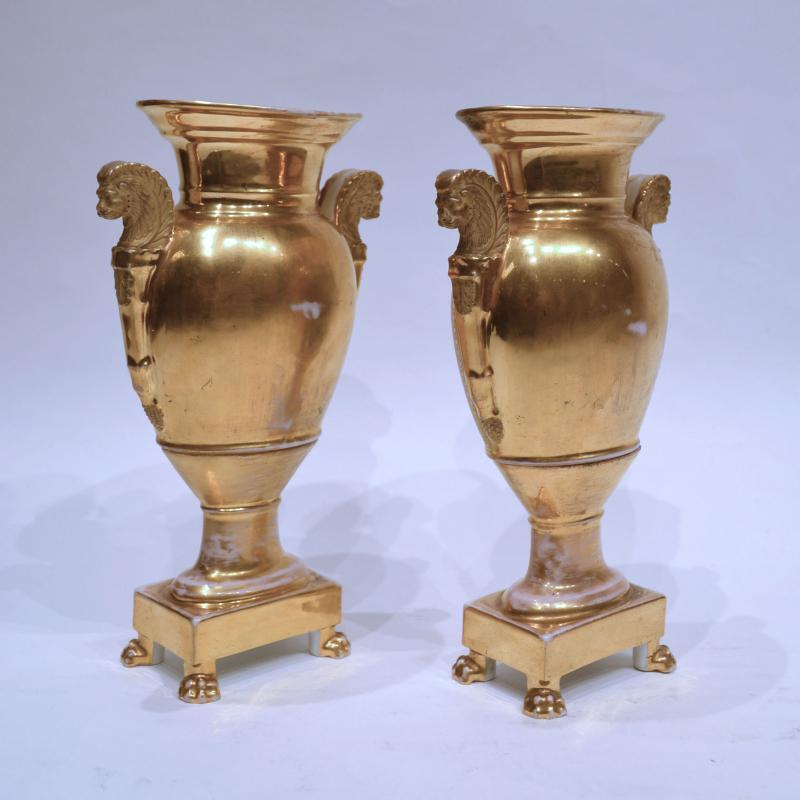 Pair Paris Porcelain Painted & Gilt Vases