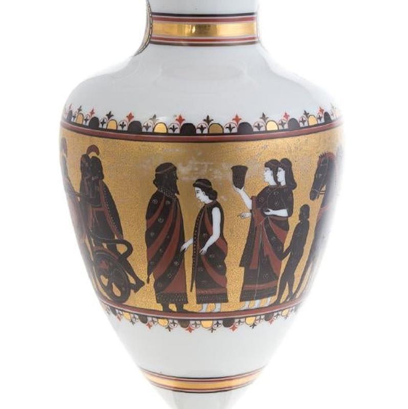 Antique Greek Revival Bristol Glass Vase Depicting Phryne ( ΦΡΥΝΗ )