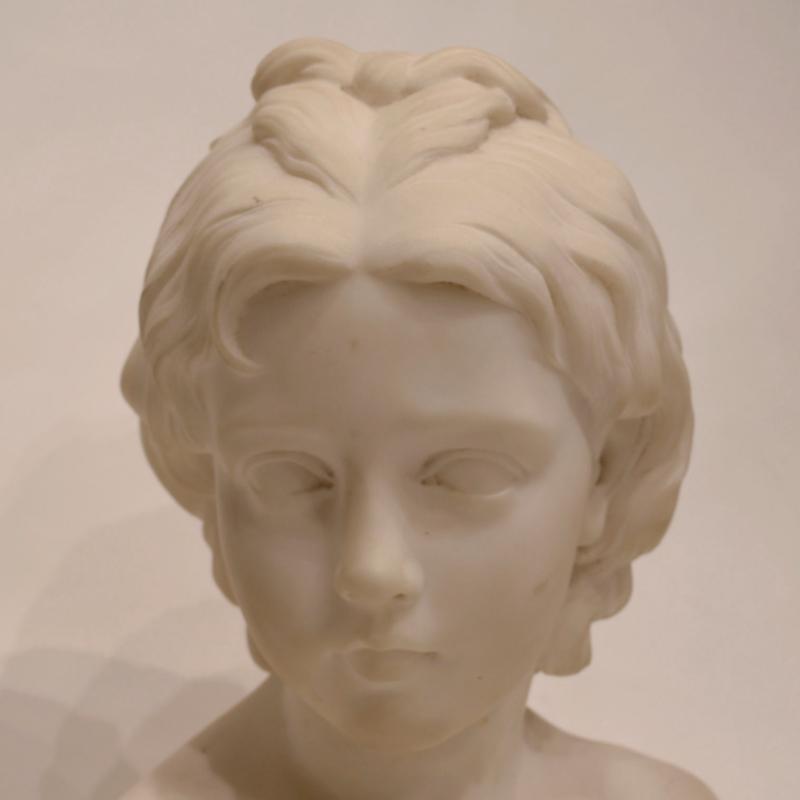 Cupid Marble Bust by Odoardo Fantacchiotti (Italian, 1811-1877)