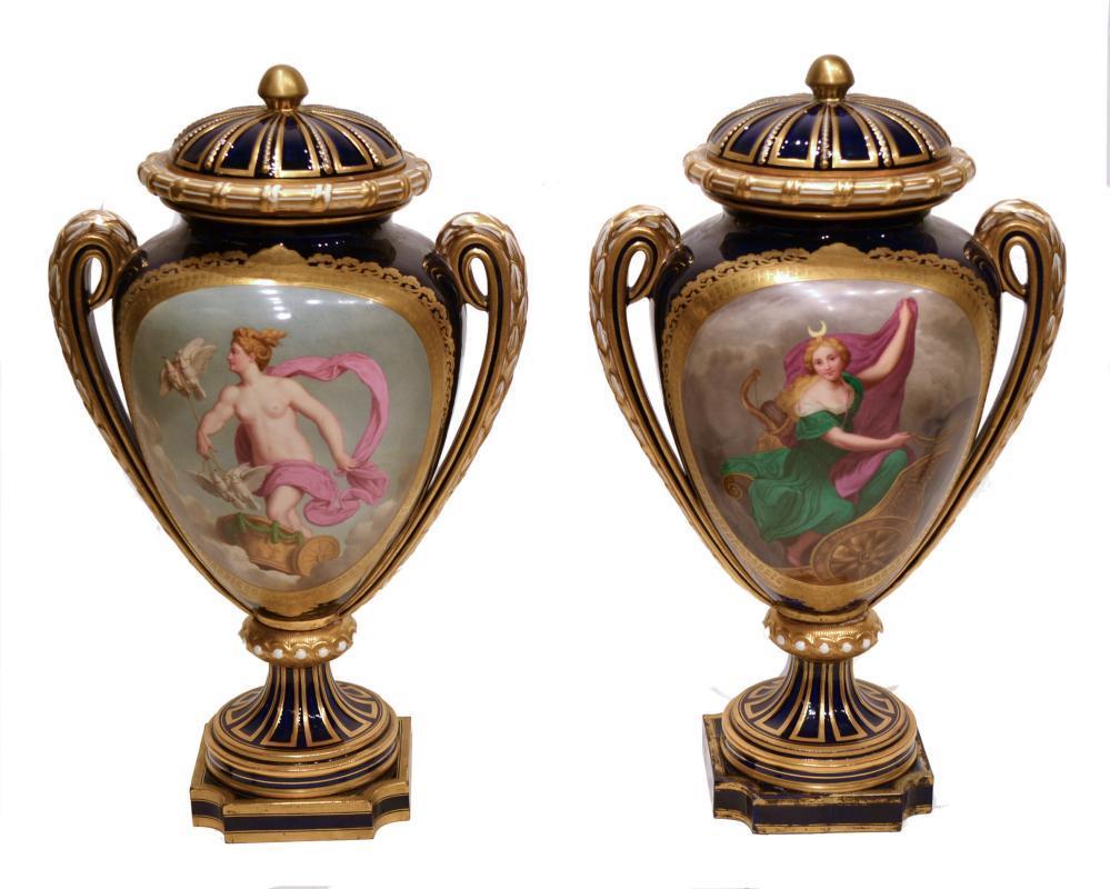Sevres Style Porcelain Vases Depicting Roman Goddesses Aurora and Luna
