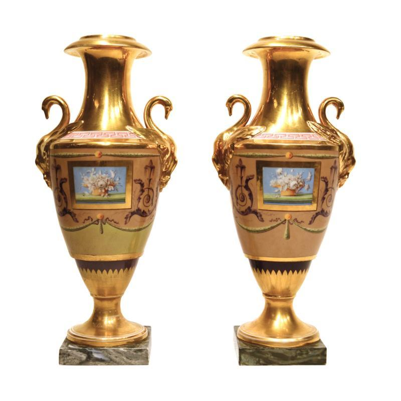 Pair Paris or Russian Porcelain Vases with Swan Handles