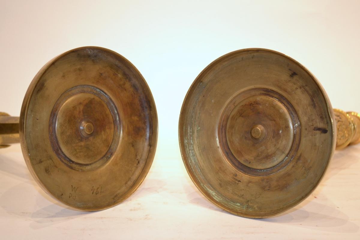 Pair Russian Gilt Bronze Candlesticks in Style of Andrei Schreiber (1777-1843)