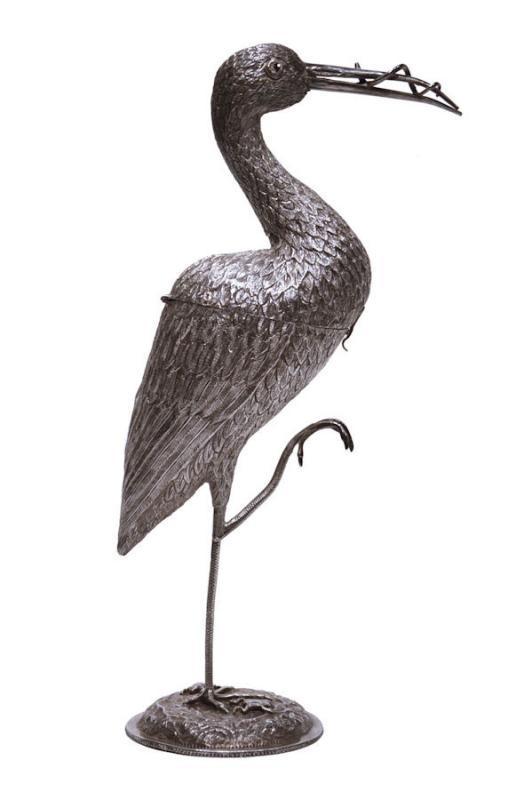 Antique Dutch Silver Crane Stork Form Table Ornament