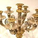 Pair Silvered and Gilt Bronze Corinthian Candelabra