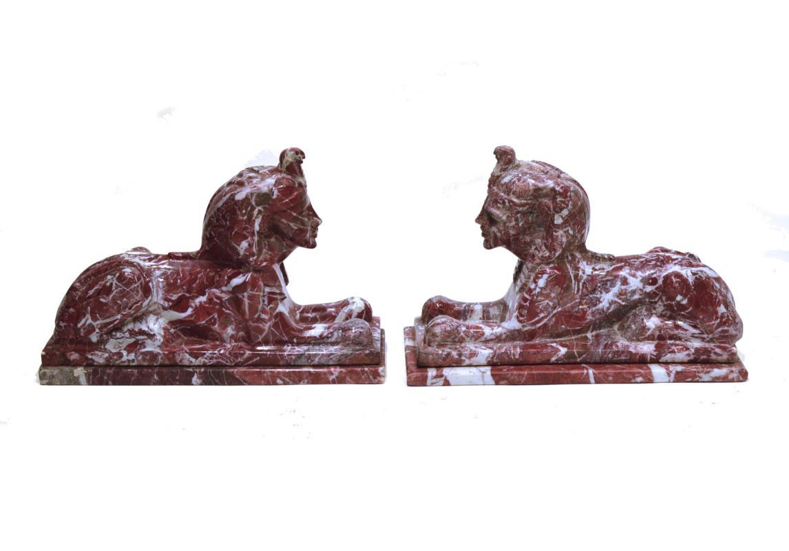 Pair White and Red Marble Egyptian Sphinx Statues