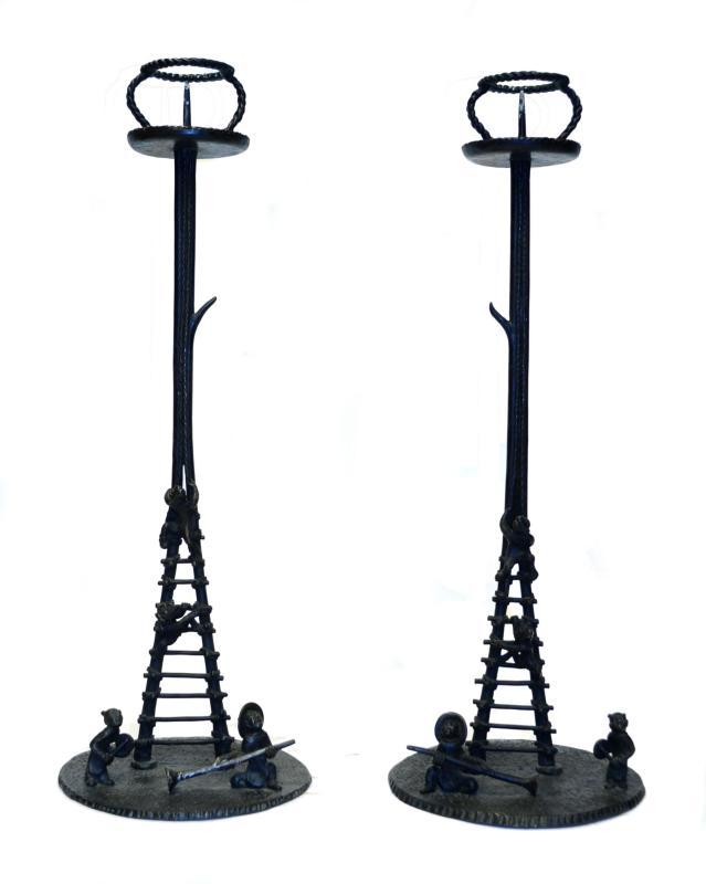 Pair Japanese Patinated Figural Bronze Candlesticks Prickets