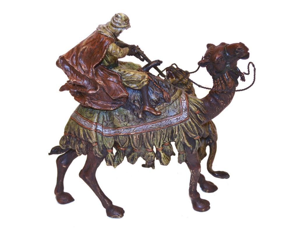 Lion Attacking Arab on Camel Orientalist Austrian Cold-Painted Bronze