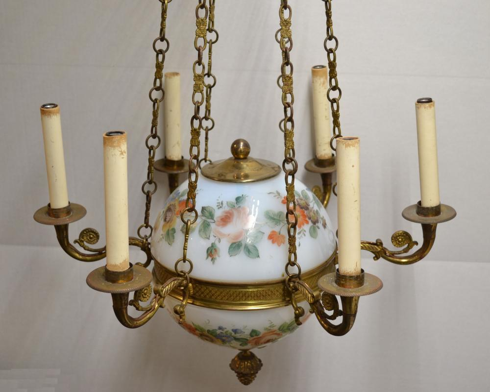 Antique French Charles X Style Bronze and Floral Painted Glass Chandelier