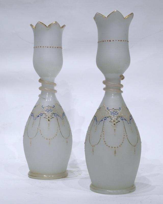 Pair Antique Glass Vases with Gilded and Enamel Decorations