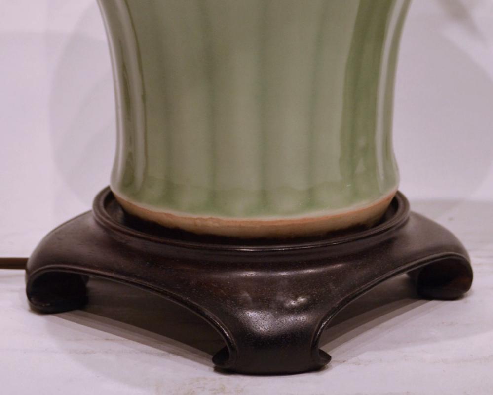 Pair Chinese Celadon Porcelain Table Lamps