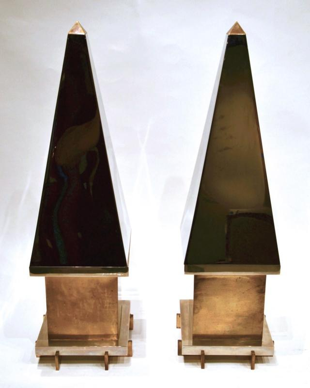 Pair Mid-Century Modern Chrome Plated Bronze Obelisks