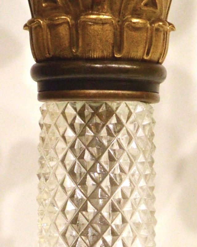 Empire Style Bronze and Crystal Candelabra Lamps