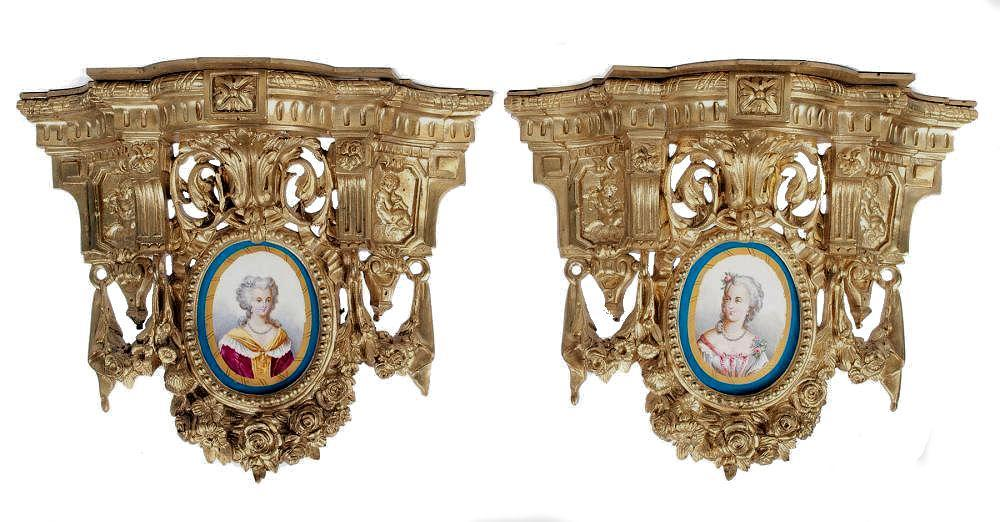 Pair Antique French Louis XVI Style Gilt Bronze and Porcelain Brackets
