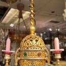Antique Middle Eastern Gilt Bronze Gas Chandelier
