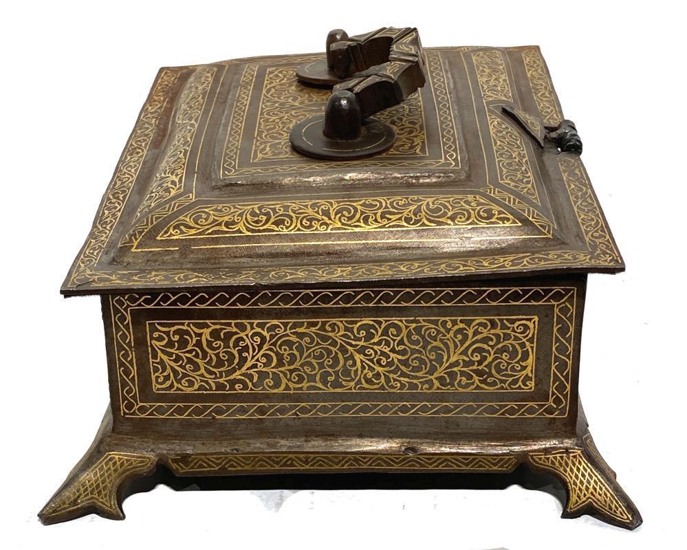 Islamic Damascene Gold Inlaid Steel Casket Box