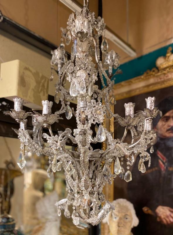 Maison Bagues Style Silvered Metal and Rock Crystal Chandelier