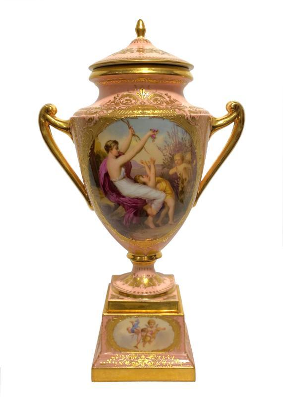 Royal Vienna Urn Vase Depicting Nymph and Cupid