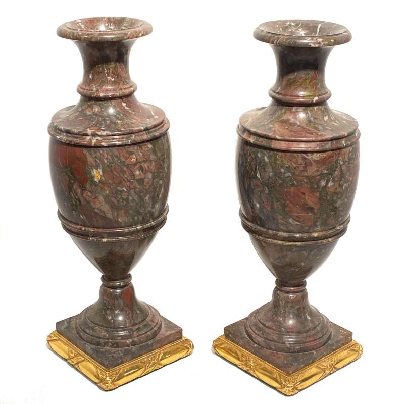 Pair Rouge Marble Vases with Giltwood Pedestals