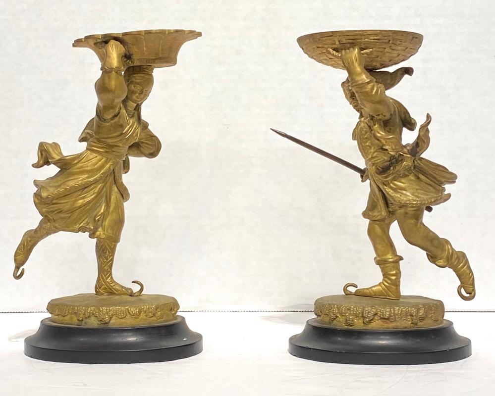 Pair Renaissance Style Gilt Bronze Tazza Depicting Ice Skaters
