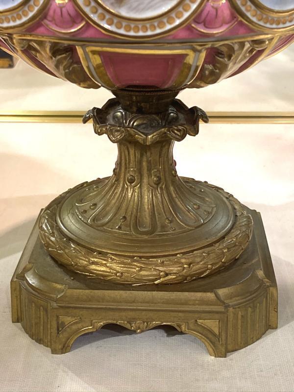 Pair Louis XVI Style Bronze Mounted Porcelain Vases