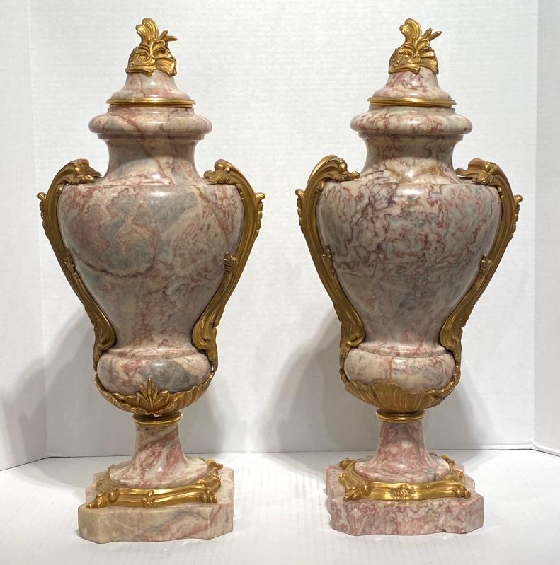 Pair French Louis XV Style Fleur de Pêcher Marble and Bronze Urns