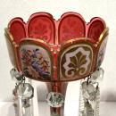 Pair Antique Floral Painted Cased Glass Lusters