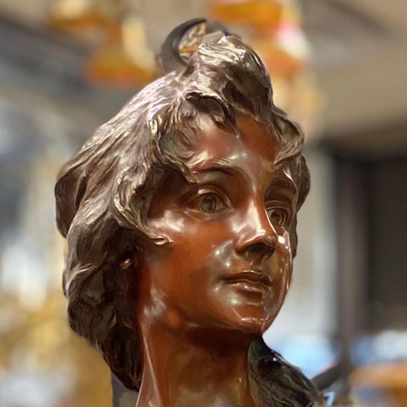Diana The Huntress Bronze Bust After Georges van der Straeten (1856-1928)