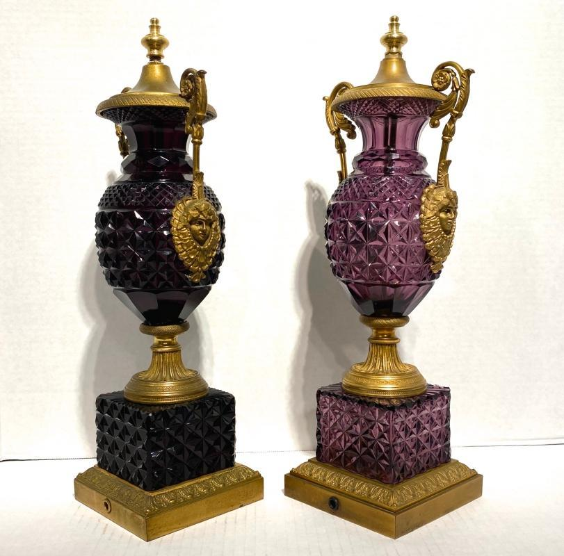 Pair Russian Empire Style Amethyst Cut Glass and Bronze Table Lamps