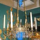 Blue Opaline Glass and Bronze Chandelier