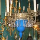 Blue Opaline Glass and Bronze Chandelier