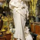 A. Bacherini Italian Marble Statue of Exotic Dancer with Timbrel
