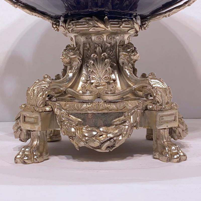Silvered Bronze and Cobalt Blue Centerpiece Bowl