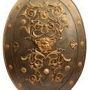 Antique Ornamental Medieval Style Bronze Mounted Shield