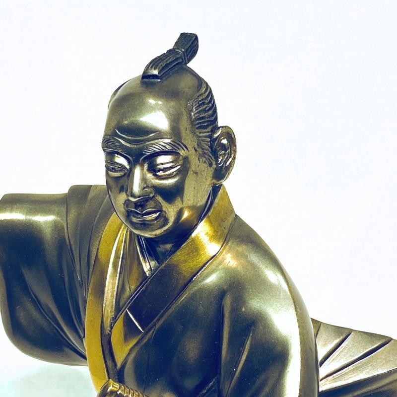 Samurai Silvered and Gilt Bronze Sculpture