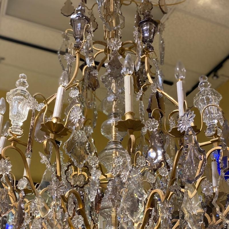Palatial Gilt Bronze & Crystal Chandelier