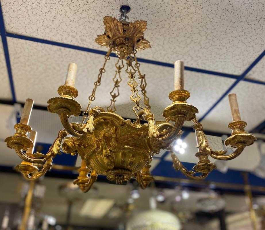 Louis XV Style Gilt Bronze 8-Light Chandelier